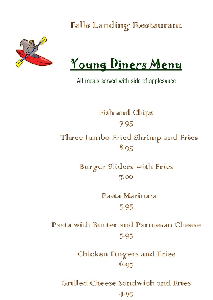 The Falls Landing Young Diners Menu